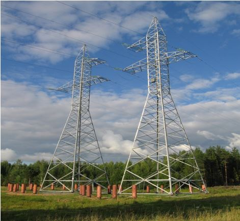 High voltage transmission line towers