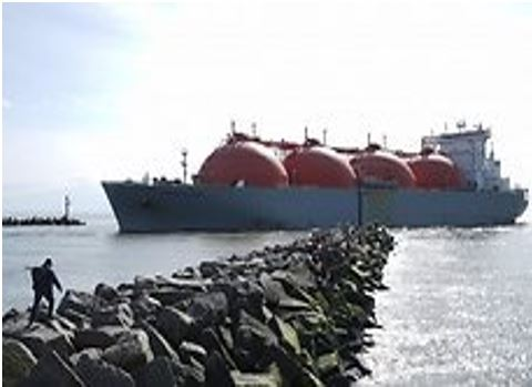 LNG carrying tanker entering the port of Klaipeda inlet