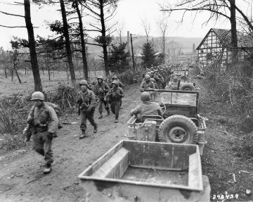 Jeeps and Men of the U.S. Army First Infantry Division in Germany, 1945