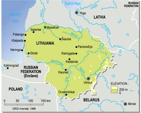 Lithuania, topographic map (map/graphic/illustration)