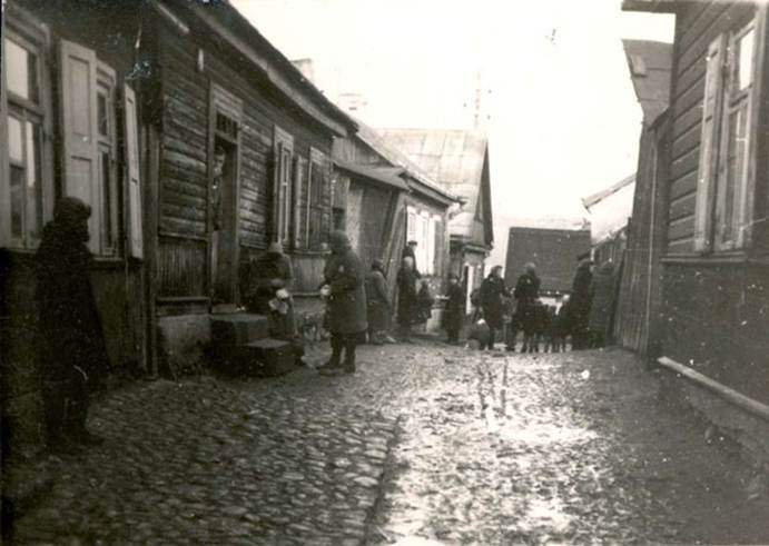 November 1943, Jews in a street in the Kovno Ghetto, Lithuania