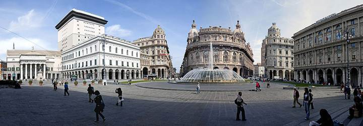 Panorama of the Piazza De Ferrari, Genoa