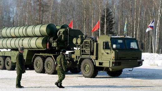 A military truck carries sections of Russia's new S-400 anti-aircraft missile system.