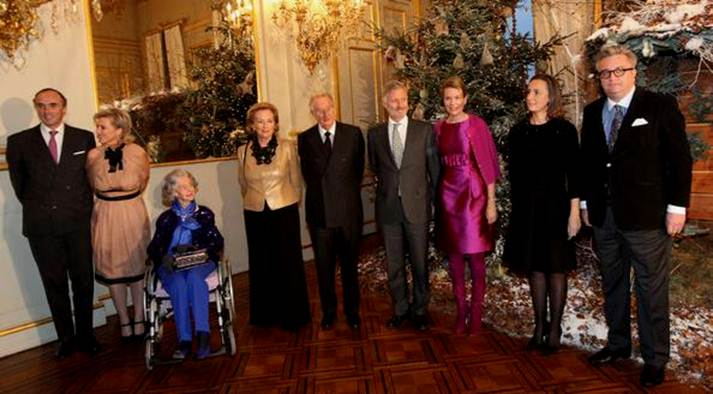 Prince Lorenz of Belgium Prince Lorenz of Belgium, Princess Astrid of Belgium, Queen Fabiola of Belgium, Queen Paola of Belgium, King Albert of Belgium, Prince Philippe of Belgium, Princess Mathilde of Belgium, Princess Claire of Belgium and Prince Laurent of Belgium pose in front of a Christmas tree at the Royal Palace on December 16, 2009 in Brussels, Belgium.